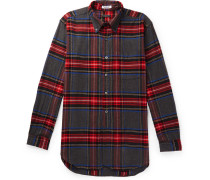 Button-down Collar Checked Brushed Cotton-flannel Shirt - Gray