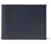 Textured-leather Billfold Wallet - Midnight blue