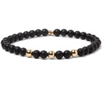 Onyx And 14-karat Gold-plated Bracelet - Black