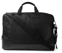 Radial Leather-trimmed Canvas Holdall - Black