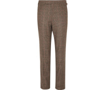 Brown Slim-Fit Prince of Wales Checked Wool Suit Trousers