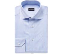 Light-blue Cutaway-collar Striped Cotton Shirt