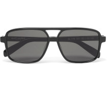 Aviator-style Acetate Sunglasses - Black