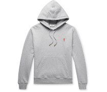 Slim-Fit Logo-Appliquéd Mélange Loopback Cotton-Jersey Hoodie