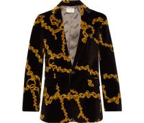 Black Slim-Fit Printed Cotton-Velvet Suit Jacket