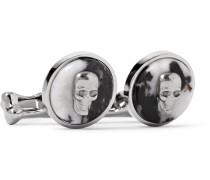 Skull Silver-tone Enamel Cufflinks