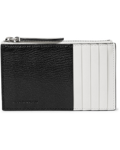 Two-tone Full-grain Leather Zipped Cardholder - Black
