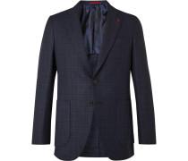 Navy Slim-fit Checked Wool-blend Blazer - Navy