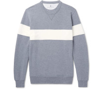 Striped Fleece-back Stretch-cotton Jersey Sweatshirt