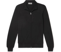 Slim-fit Cotton Zip-up Cardigan - Black