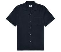 Miyagi Camp-collar Textured-tencel Shirt