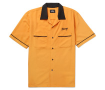 Camp-collar Contrast-trimmed Matte-satin Shirt - Orange