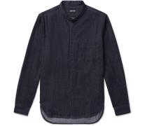 Grandad-collar Cotton-chambray Shirt - Black