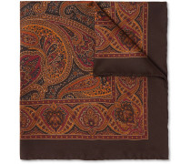 Paisley-print Silk-twill Pocket Square - Brown