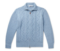 Cable-Knit Merino Wool Zip-Up Cardigan