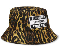 Reversible Logo-Appliquéd Leopard-Print Nylon Bucket Hat