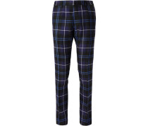Slim-fit Checked Wool Trousers - Navy
