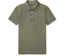 Slim-fit Garment-dyed Cotton-piqué Polo Shirt - Army green