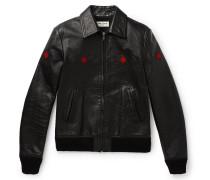 Slim-fit Full-grain Leather Bomber Jacket - Black