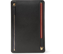Panama Cross-grain Leather Currency Case - Black