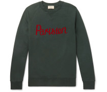 Flocked Fleece-back Cotton-jersey Sweatshirt - Green