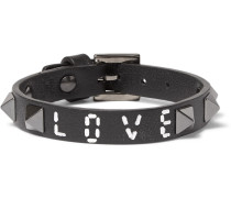 Valentino Garavani Vitello Embellished Leather Bracelet