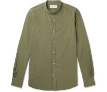 Gaspard Grandad-collar Garment-dyed Cotton Shirt