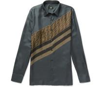 Slim-fit Logo-print Silk-twill Shirt