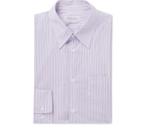 Grey Reyes Striped Cotton-poplin Shirt - Navy
