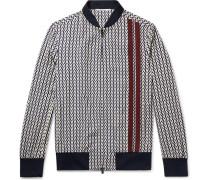 Logo-print Virgin Wool-twill Zip-up Sweatshirt - Navy