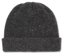 Ribbed Mélange Cashmere Beanie