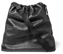 Scritto Leather Drawstring Tote Bag - Black