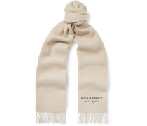 Logo-embroidered Fringed Cashmere Scarf - Beige