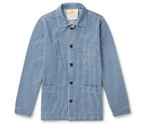Striped Denim Chore Jacket - Blue