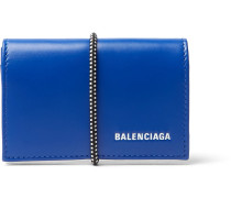 Elastic-bound Leather Cardholder - Blue