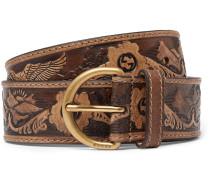Brown Embossed Leather Belt - Tan