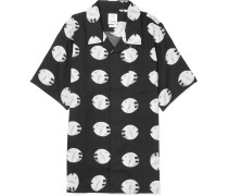Camp-collar Printed Silk And Cotton-blend Shirt