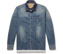 + Dr. Woo Embroidered Shell And Grosgrain-trimmed Denim Shirt - Blue