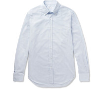 Alfred Button-down Collar Puppytooth Brushed-cotton Shirt - Sky blue