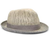 Grosgrain-trimmed Mélange Straw Trilby Hat - Beige