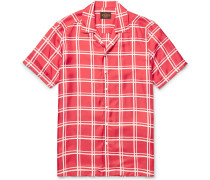 Camp-collar Checked Silk-twill Shirt - Red