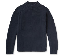 Funnel-neck Ribbed Wool Sweater - Midnight blue