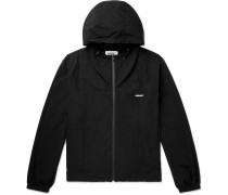 Logo-Print Hooded Cotton-Shell Zip-Up Jacket