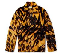Leopard-print Faux Fur Half-zip Jacket - Yellow