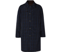 Reversible Checked Shell And Cotton-twill Raincoat - Navy