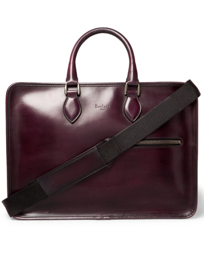 Deux Jours Leather Briefcase - Red