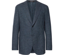 Blue Micro-checked Wool And Cashmere-blend Blazer - Blue
