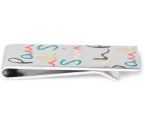 Logo-enamelled Silver-tone Money Clip