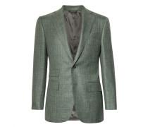 Grey-green Wool, Silk And Linen-blend Blazer
