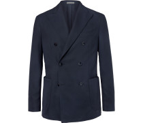 Navy Slim-fit Unstructured Double-breasted Virgin Wool Hopsack Blazer - Navy